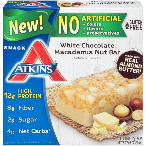 Atkins Snack Bar White Chocolate Macadamia Nut 5 bars