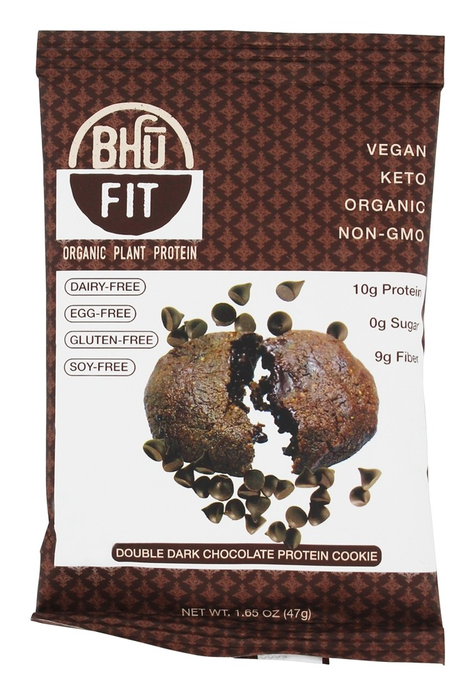 Bhu Foods Organic Plant Protein Cookie Double Dark Chocolate 10 pckts