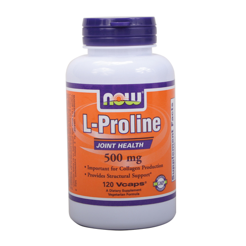 Now L-Proline - for Collagen Production  (500 mg) 120 Vcaps