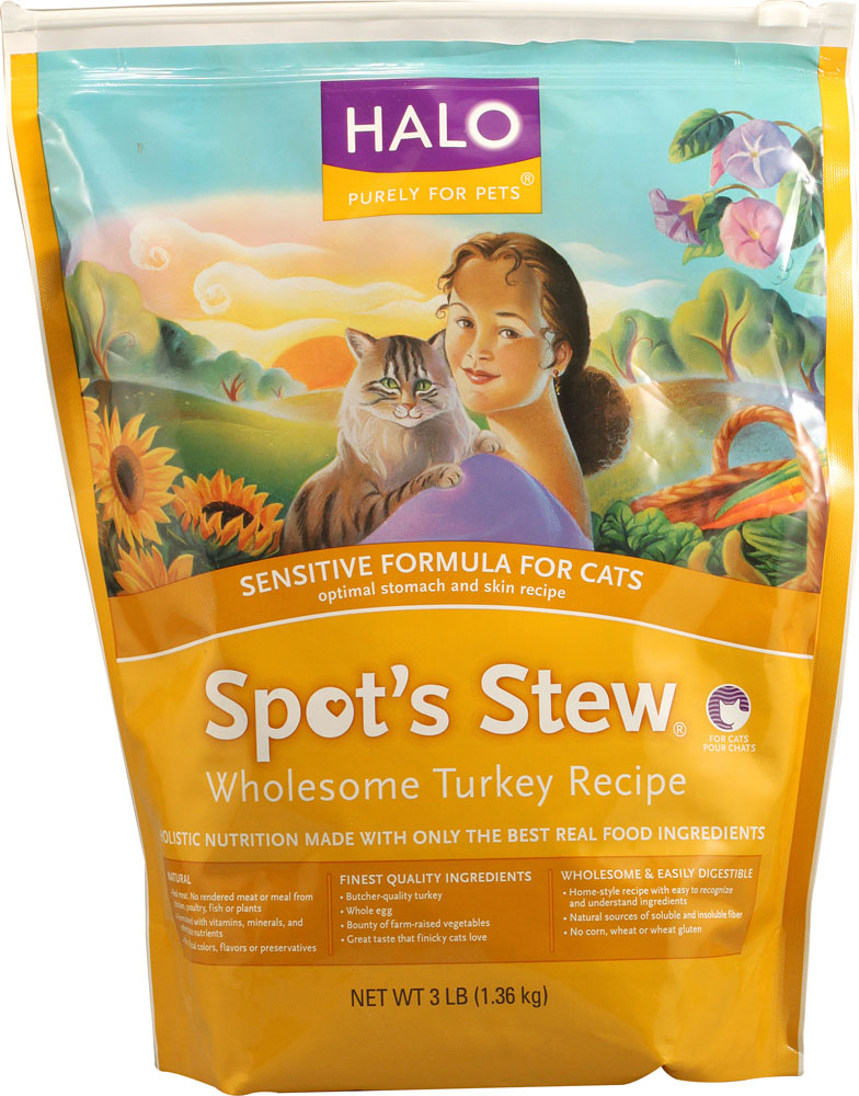 Halo Spot's Stew Sensitive Formula for Cats Wholesome Turkey Recipe - 3 lbs