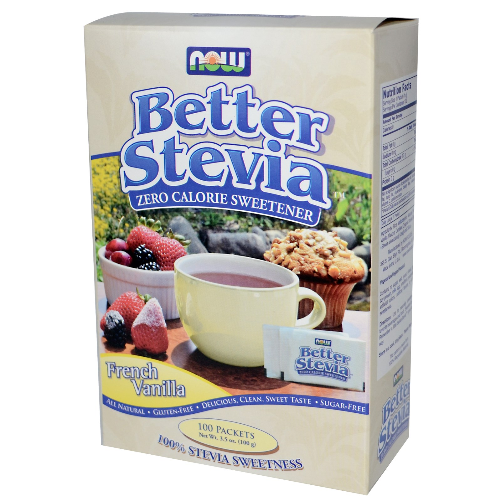 NOW Better Stevia - Zero Calorie Sweetener French Vanilla 75 Packts