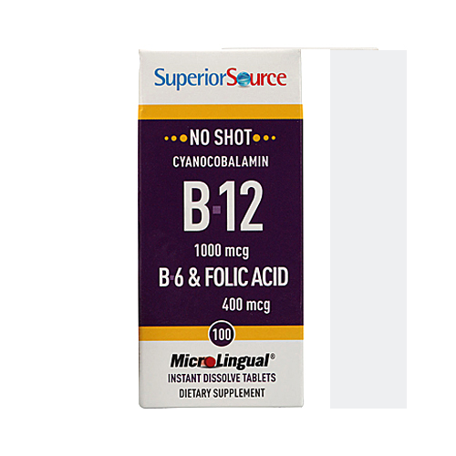 Superior Source MicroLingual No Shot Cyanocobalamin B12 (1000mcg) + B6 & Folic Acid (400mcg) - 100 tabs